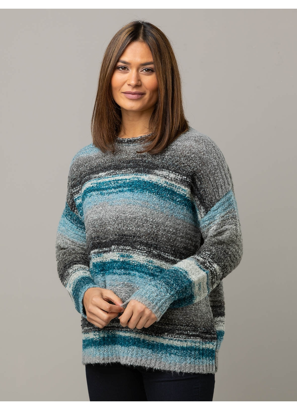 Julie Blurred Stripe Knitted Jumper in Teal