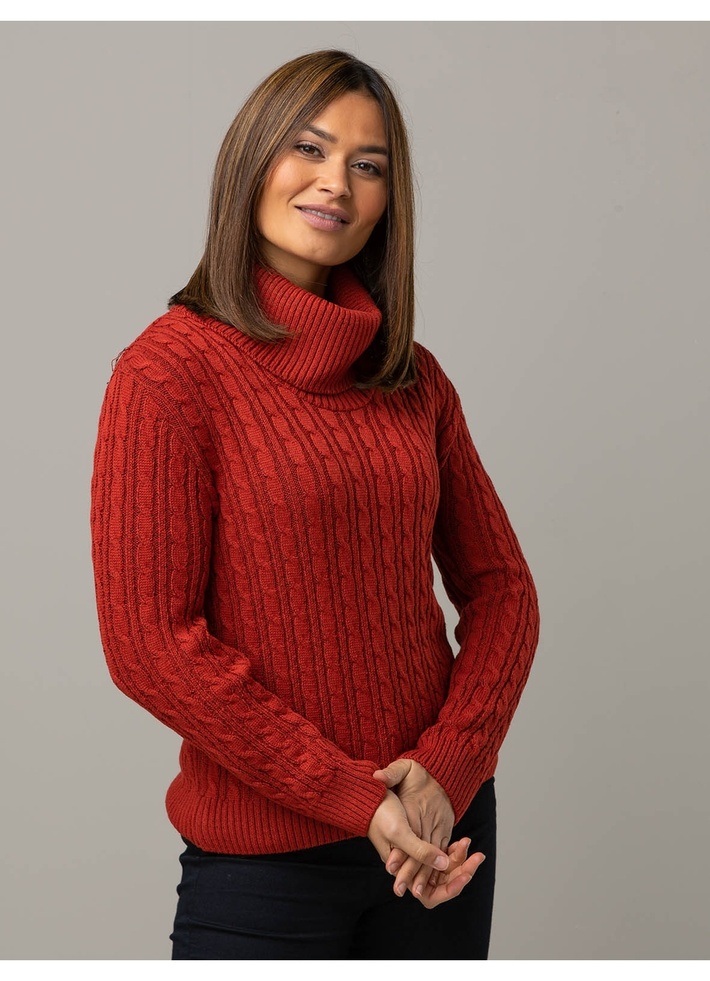 Mischa Cable Knit Roll Neck Jumper in Rust