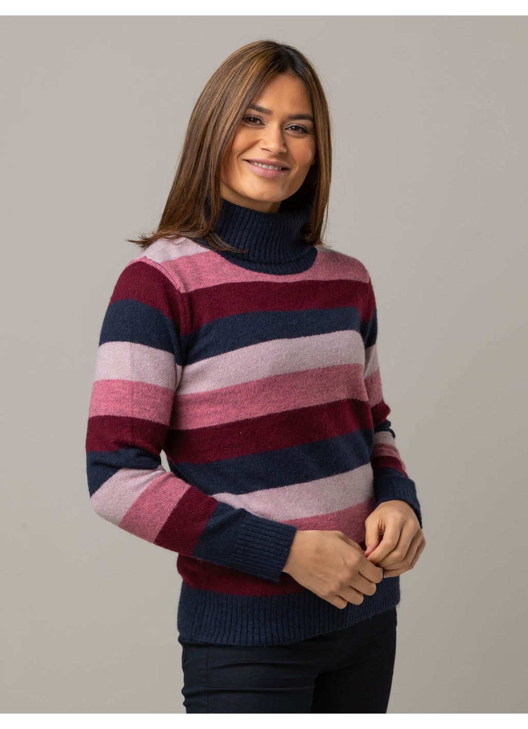 Michelle Striped Knitted Roll Neck Jumper in Pink