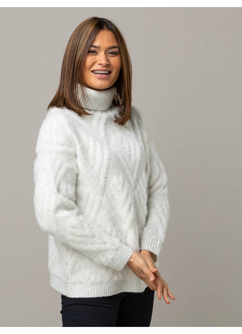 Nikki Fluffy Roll Neck Knit in Ivory