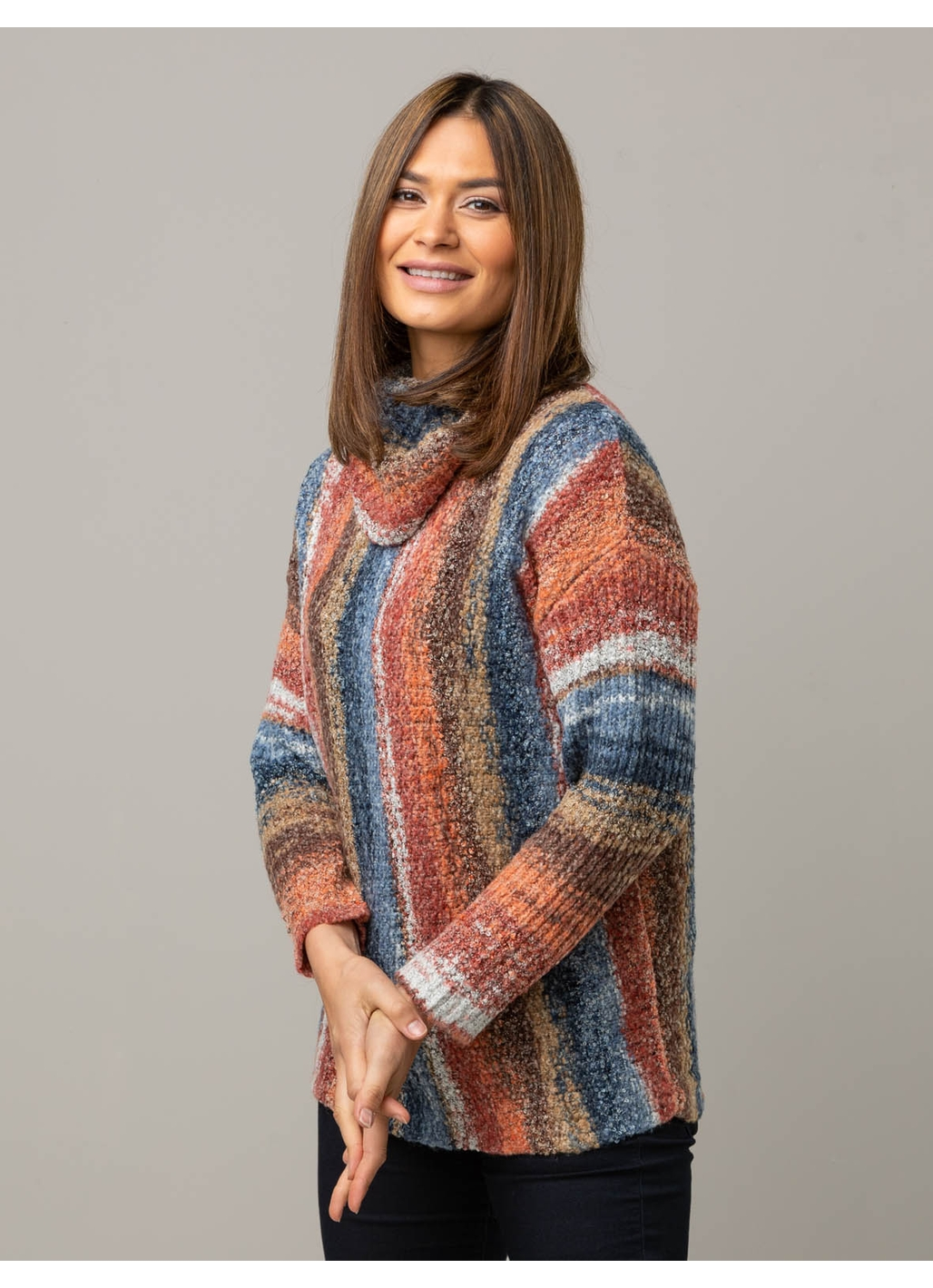 Georgie Cowl Neck Jumper in Rust Stripe