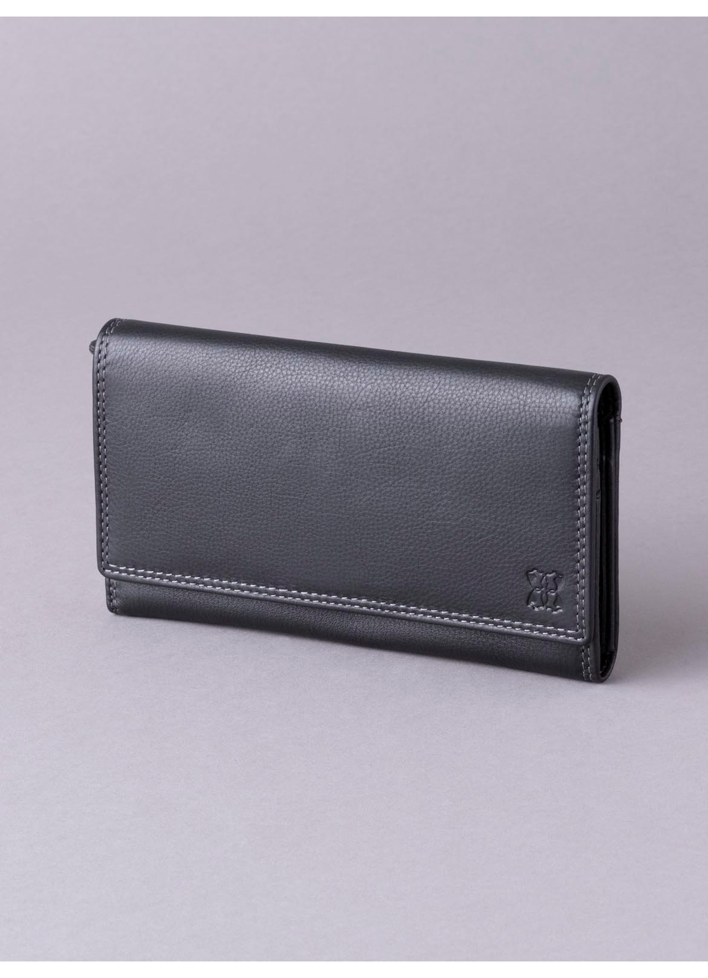 19cm Leather Purse in Black
