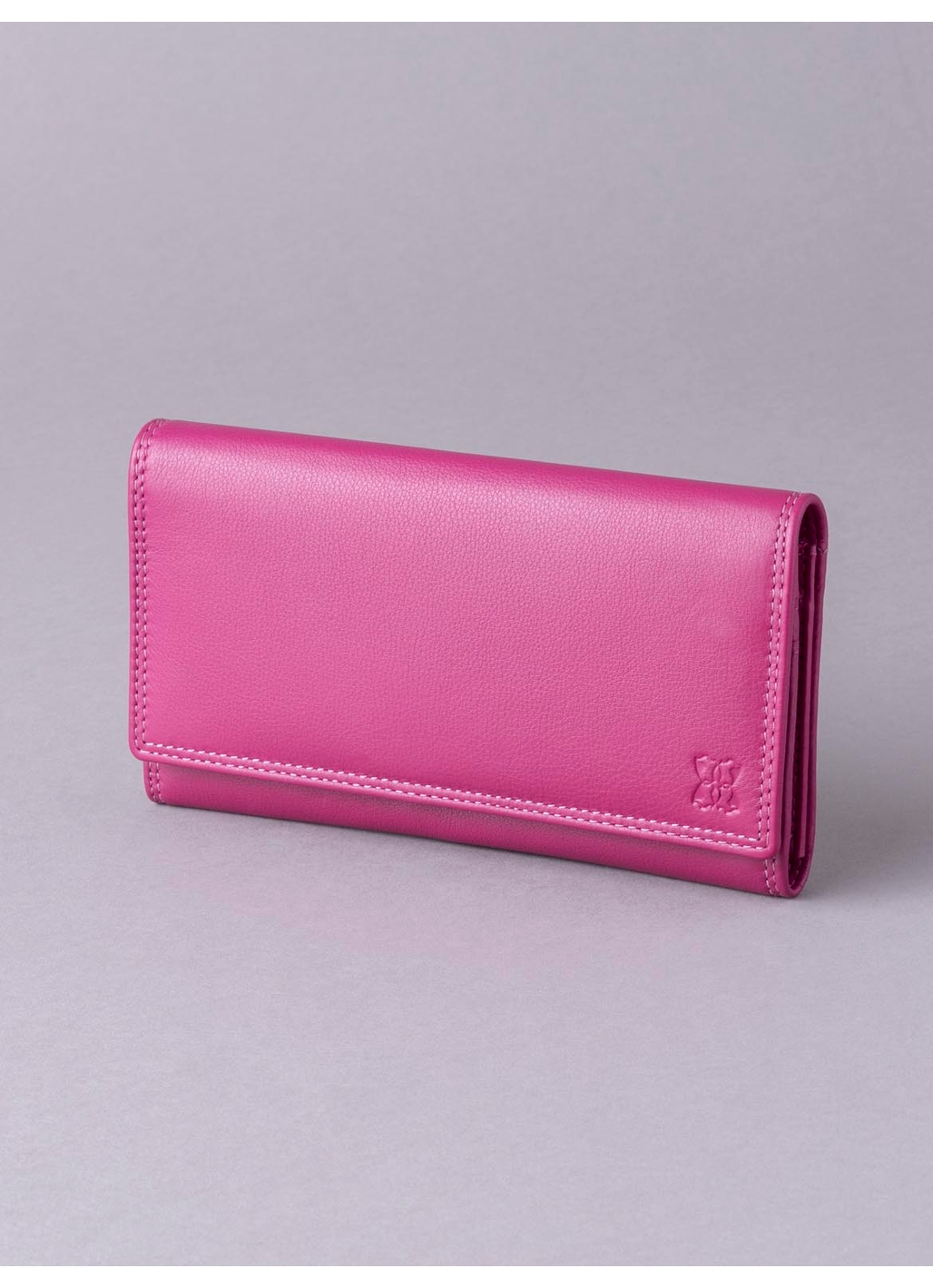 19cm Leather Purse in Cranberry Pink