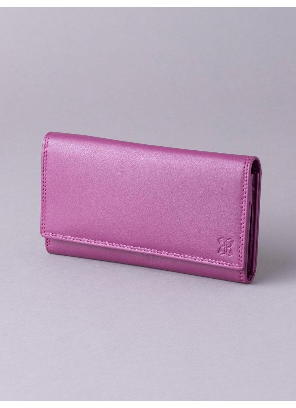 19cm Leather Purse in Fuchsia Pink