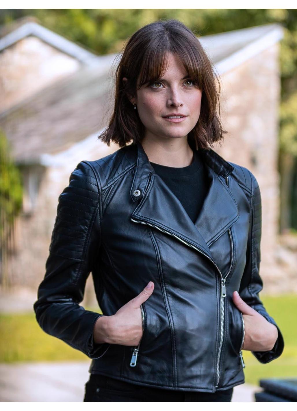 Nicole Leather Biker Jacket in Black