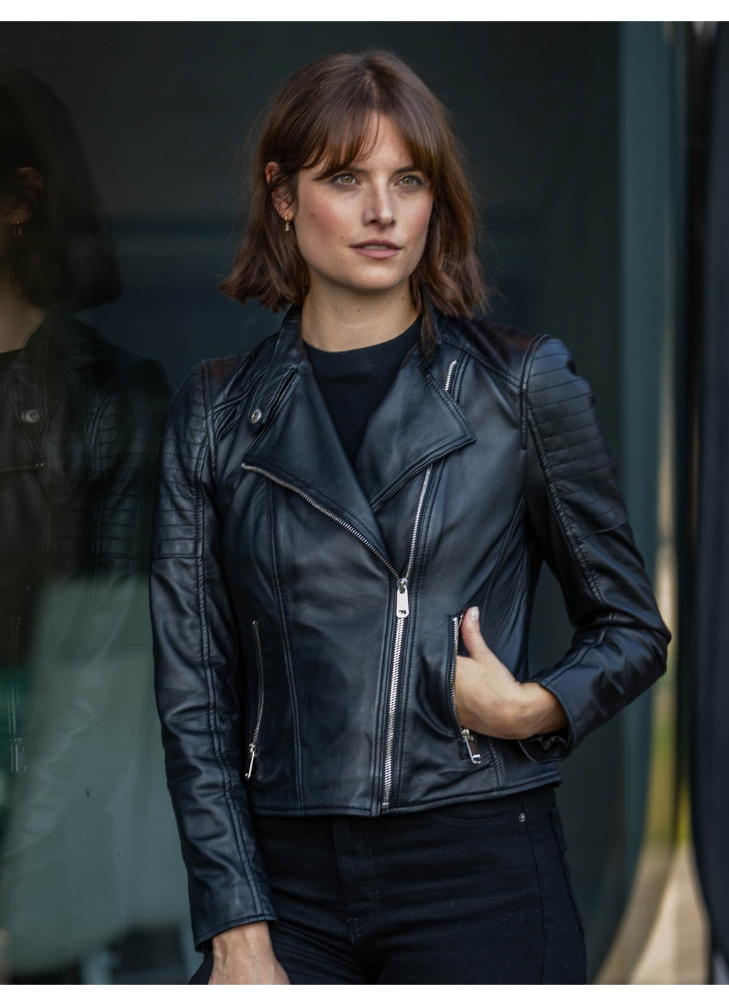 Nicole Leather Biker Jacket in Black