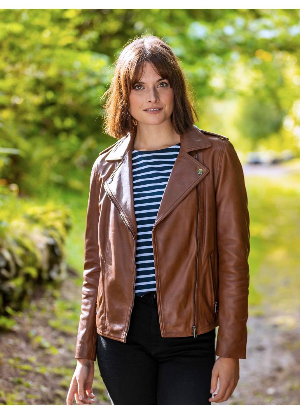 Castlerigg Leather Biker Jacket in Tan