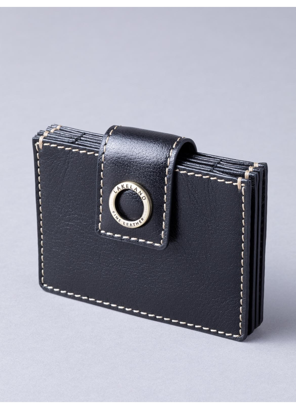 Birthwaite Leather Credit Card Holder in Black