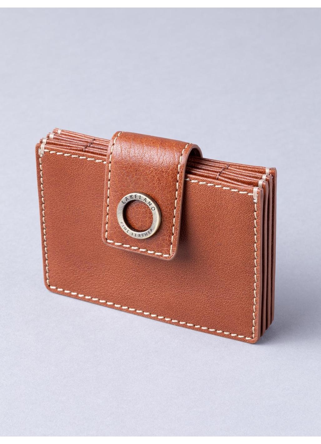 Birthwaite Leather Credit Card Holder in Cognac