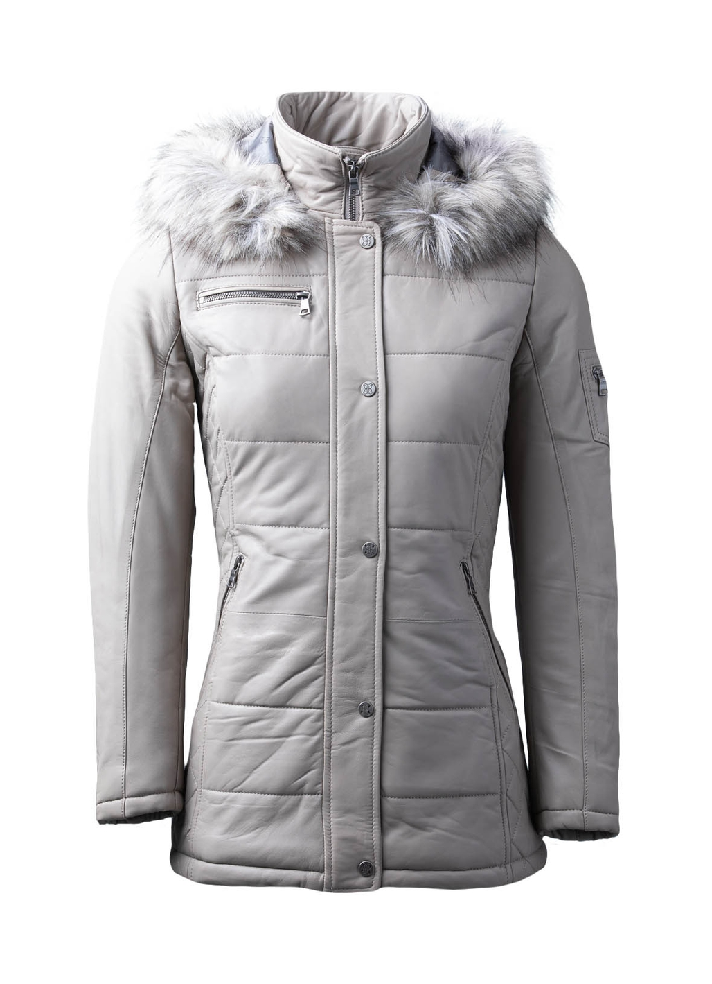 Fairfield Hooded Padded Leather Coat in Stone
