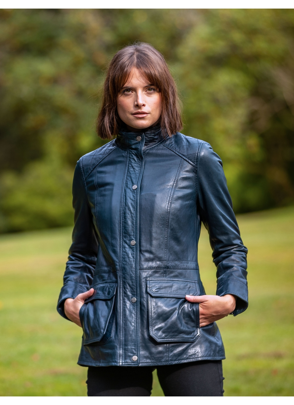 Ulverston Leather Field Jacket in Navy