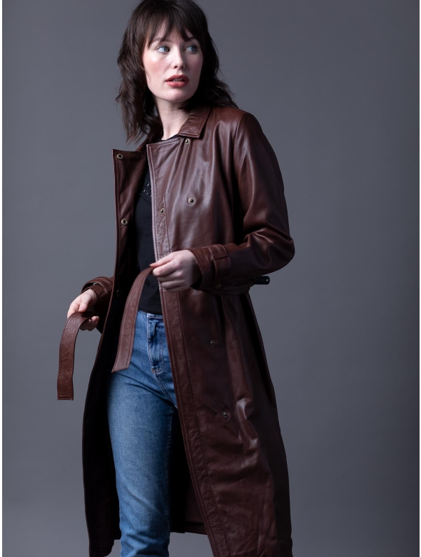 Tanya Long Leather Trench Coat In Pecan, Womens Faux Leather Trench Coat Uk