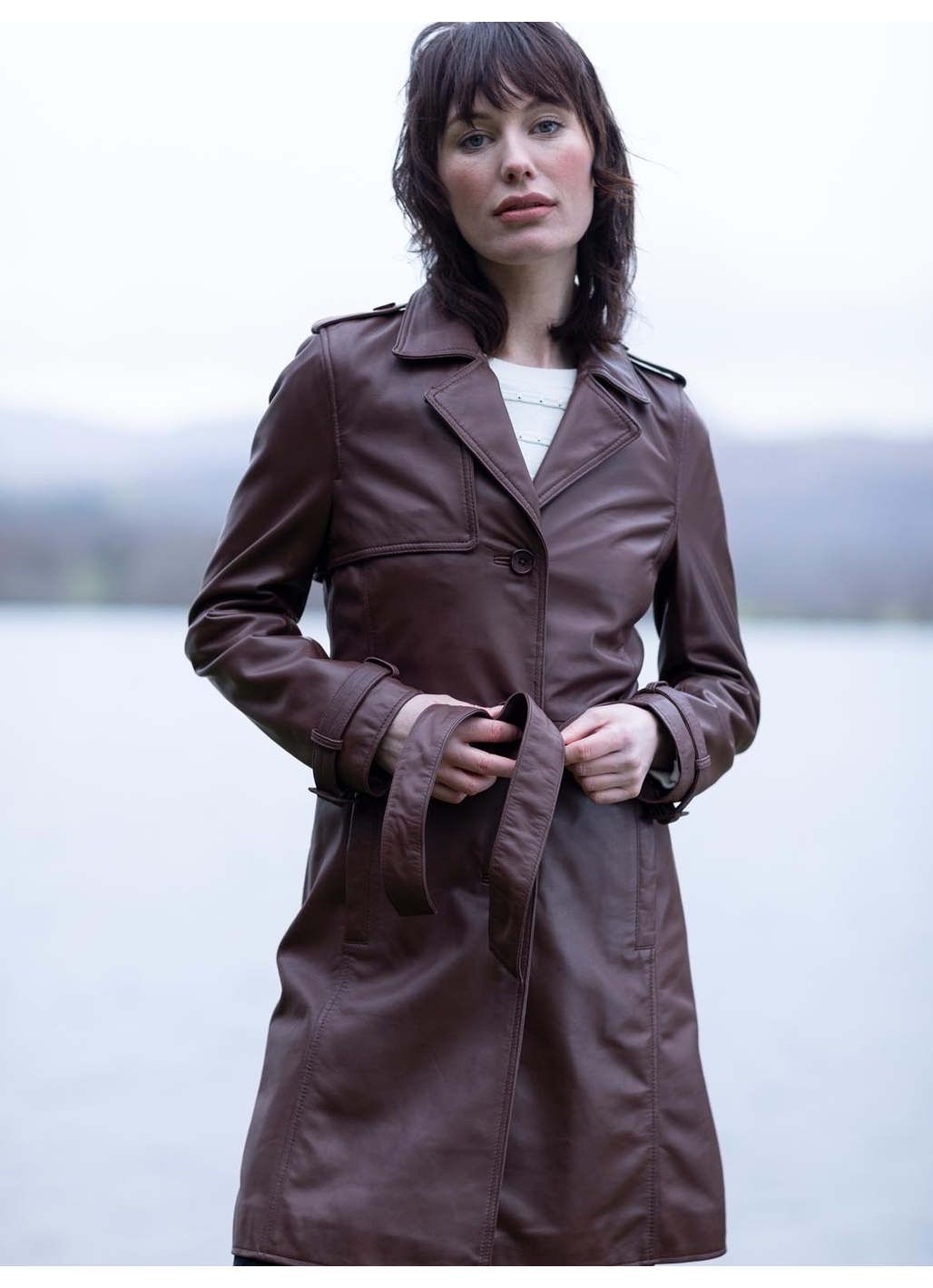 Tarraby Leather Trench Coat in Pecan