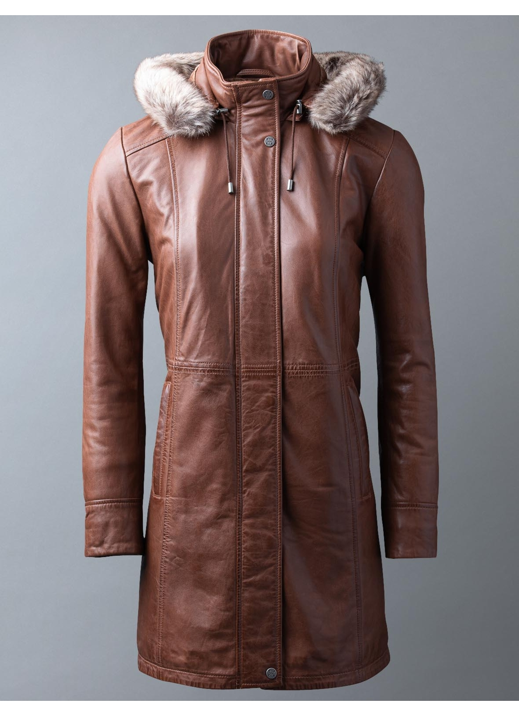 Ravensworth Long Leather Coat in Tan
