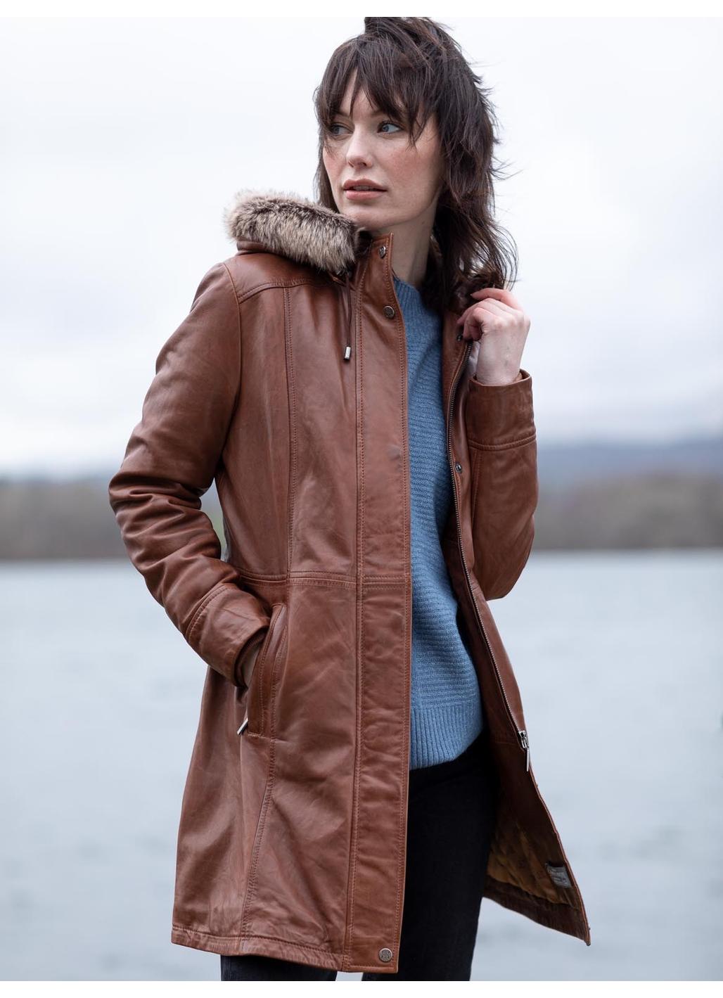 Ravensworth Long Leather Coat in Tan