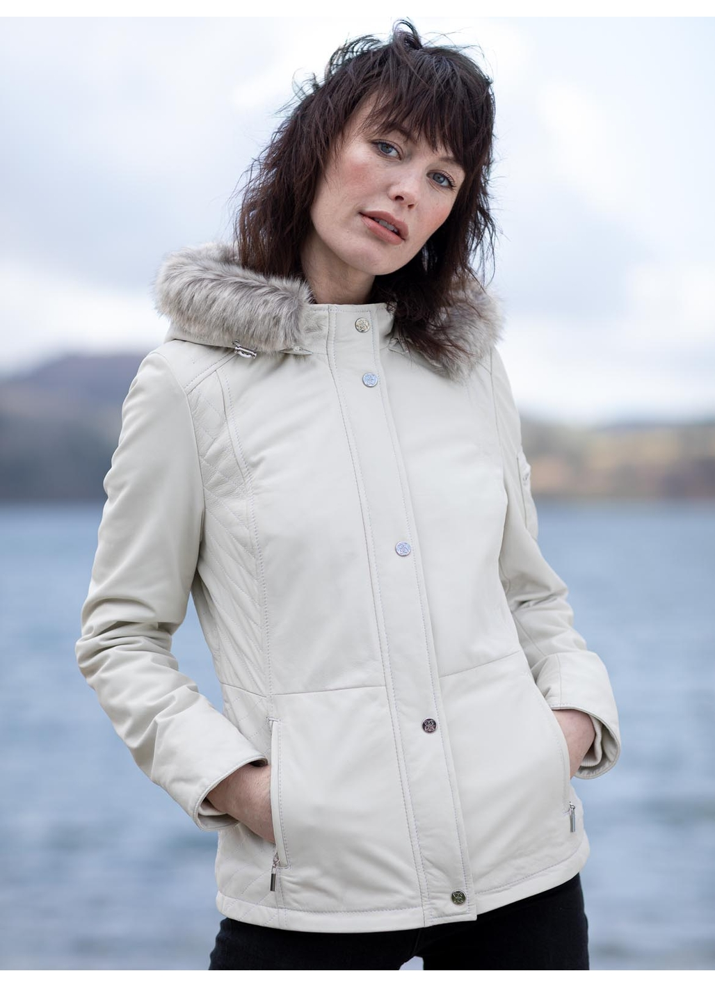 Armathwaite Leather Coat in White