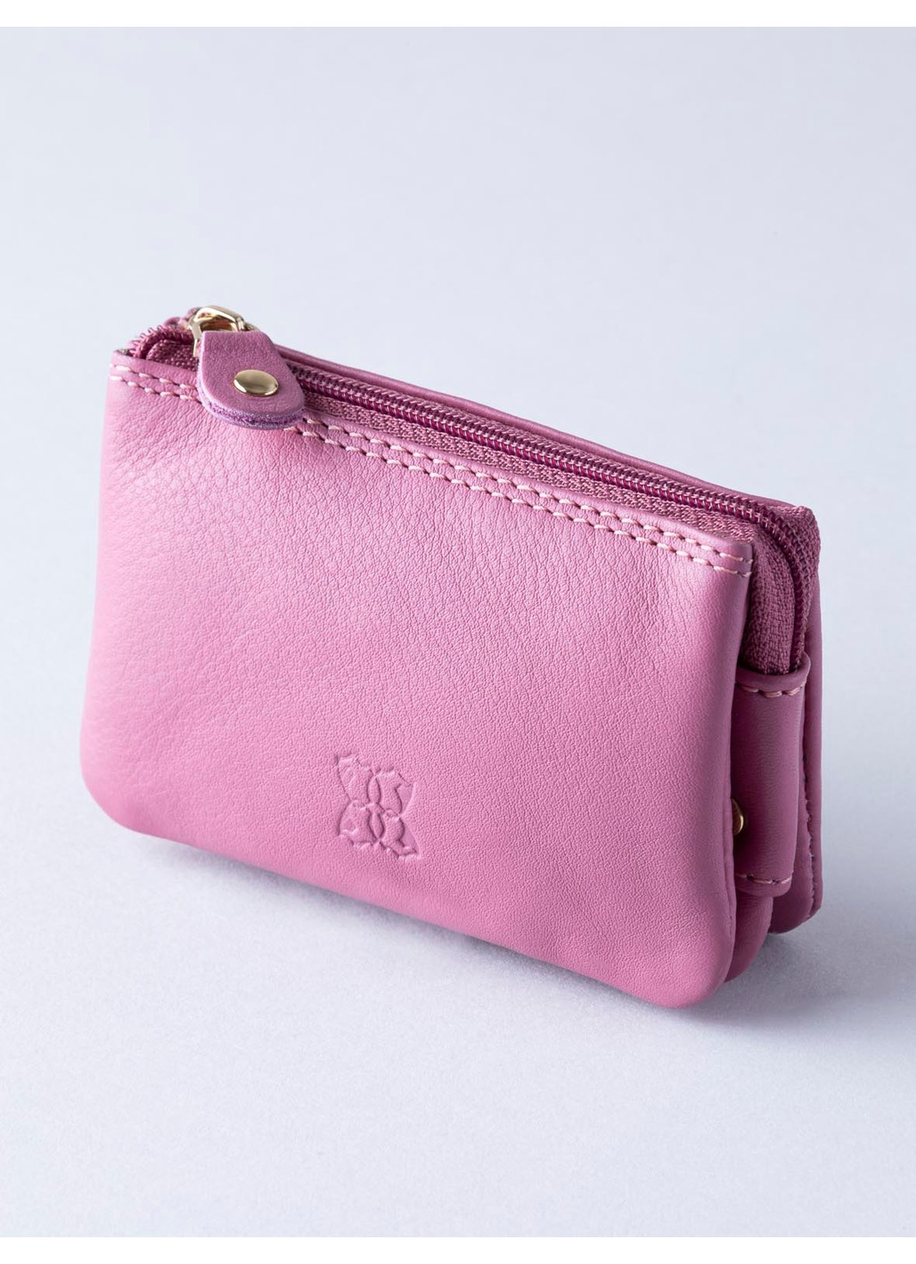Leather Coin Purse in Mauve