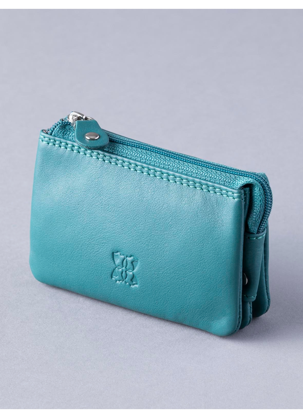 Leather Coin Purse in Teal