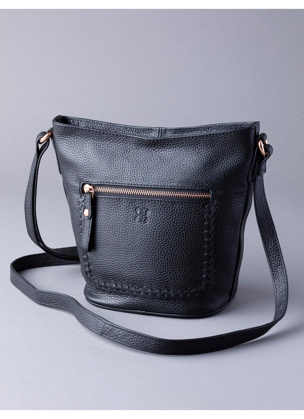 Evie Leather Cross Body Bag in Black