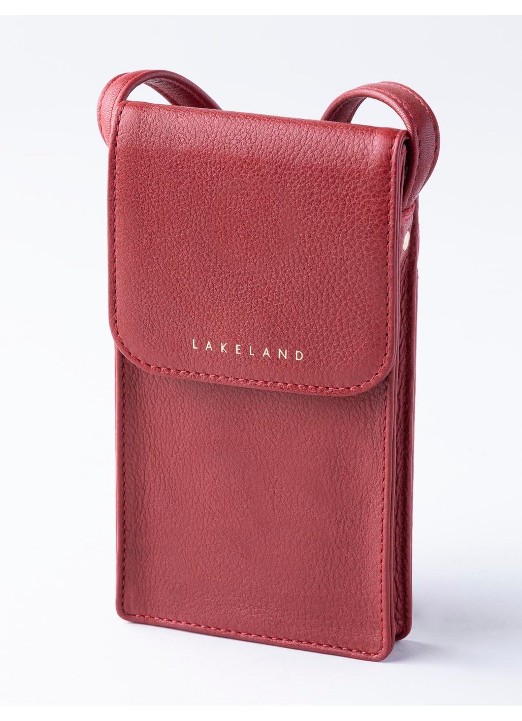 Wray Leather Cross Body Phone Pouch in Red