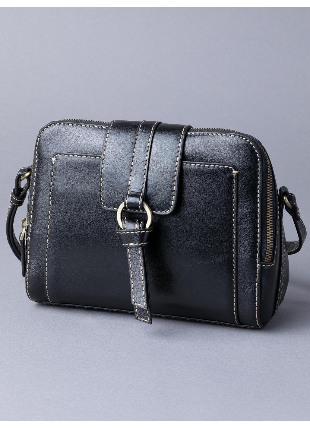 Birthwaite Leather Cross Body Bag in Black
