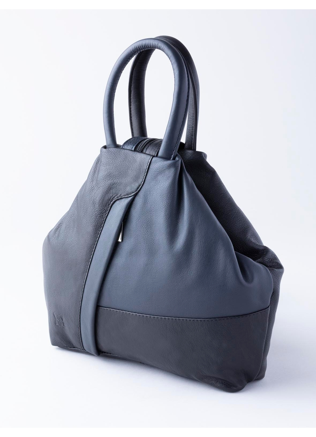Juliet Leather Backpack in Black and Navy