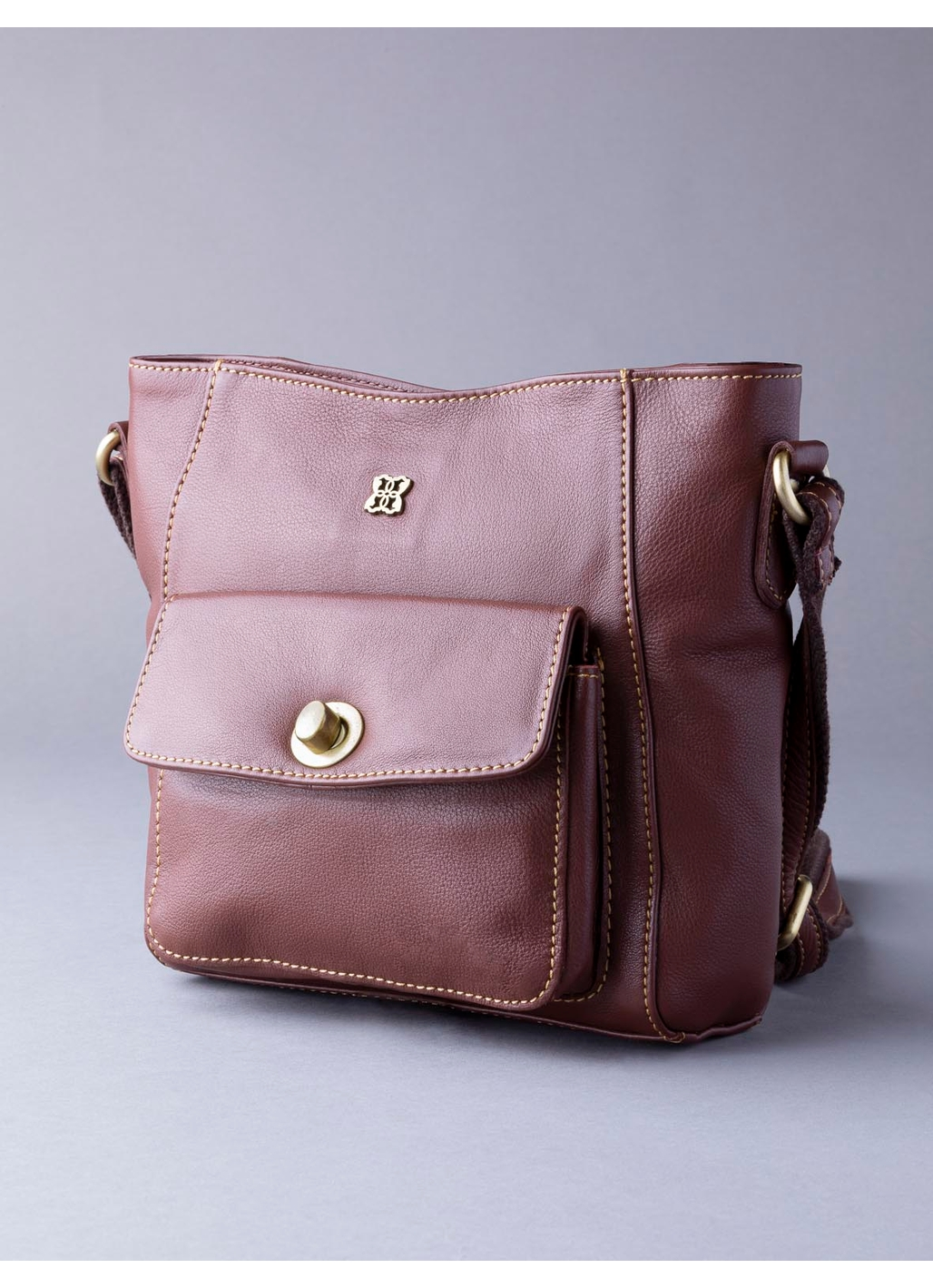 Rickerby Leather Cross Body Bag in Chestnut
