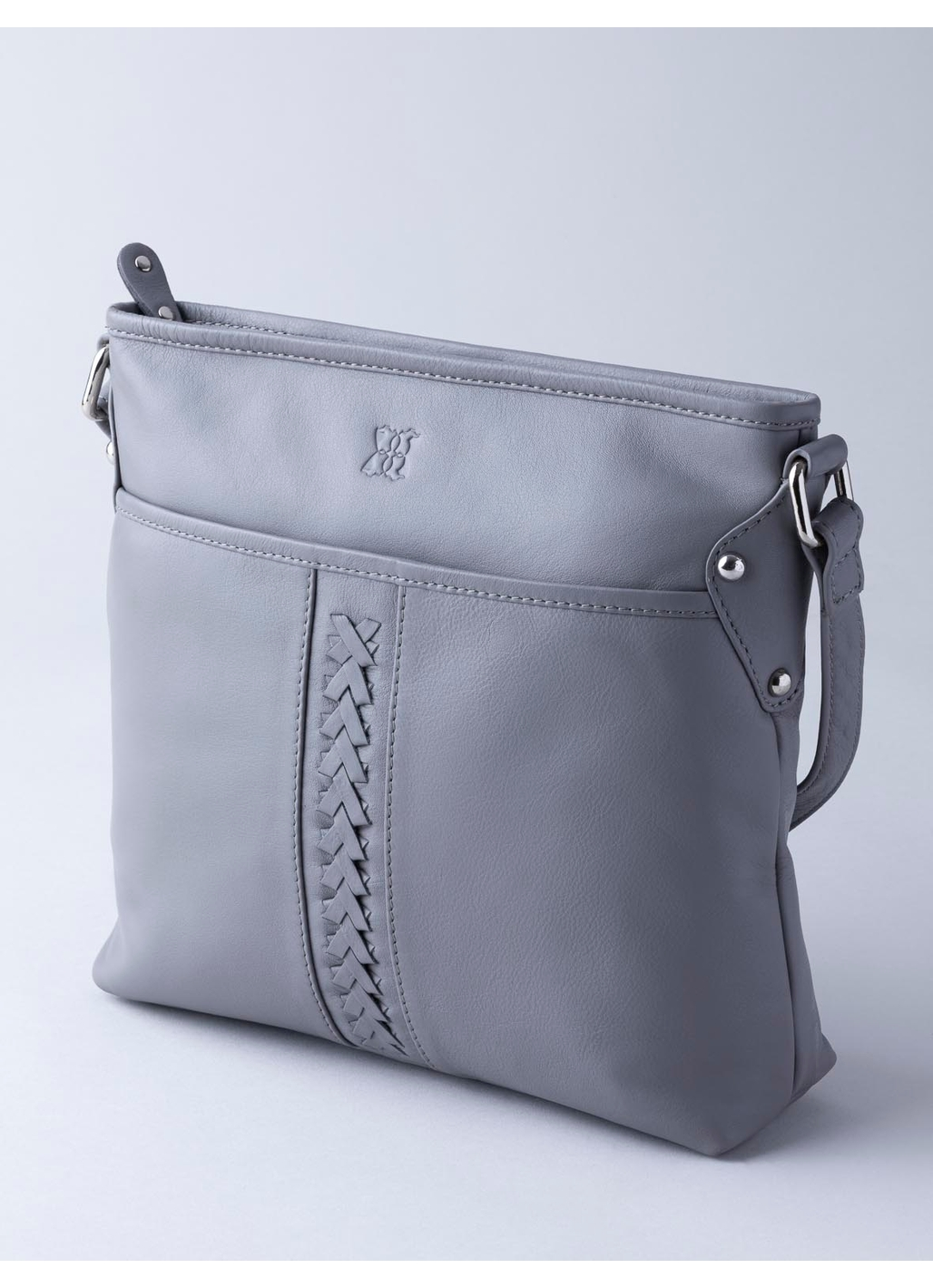 Farlam Plaited Leather Cross Body Bag in Grey
