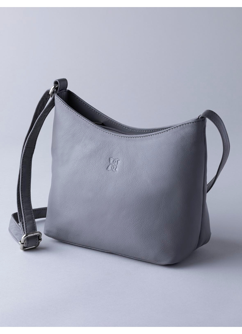 Fornside Small Leather Cross Body Bag in Grey