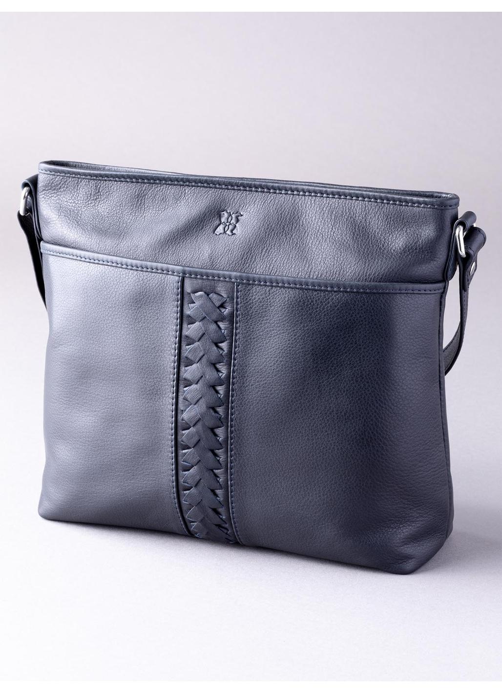 Farlam Leather Cross Body Bag in Navy