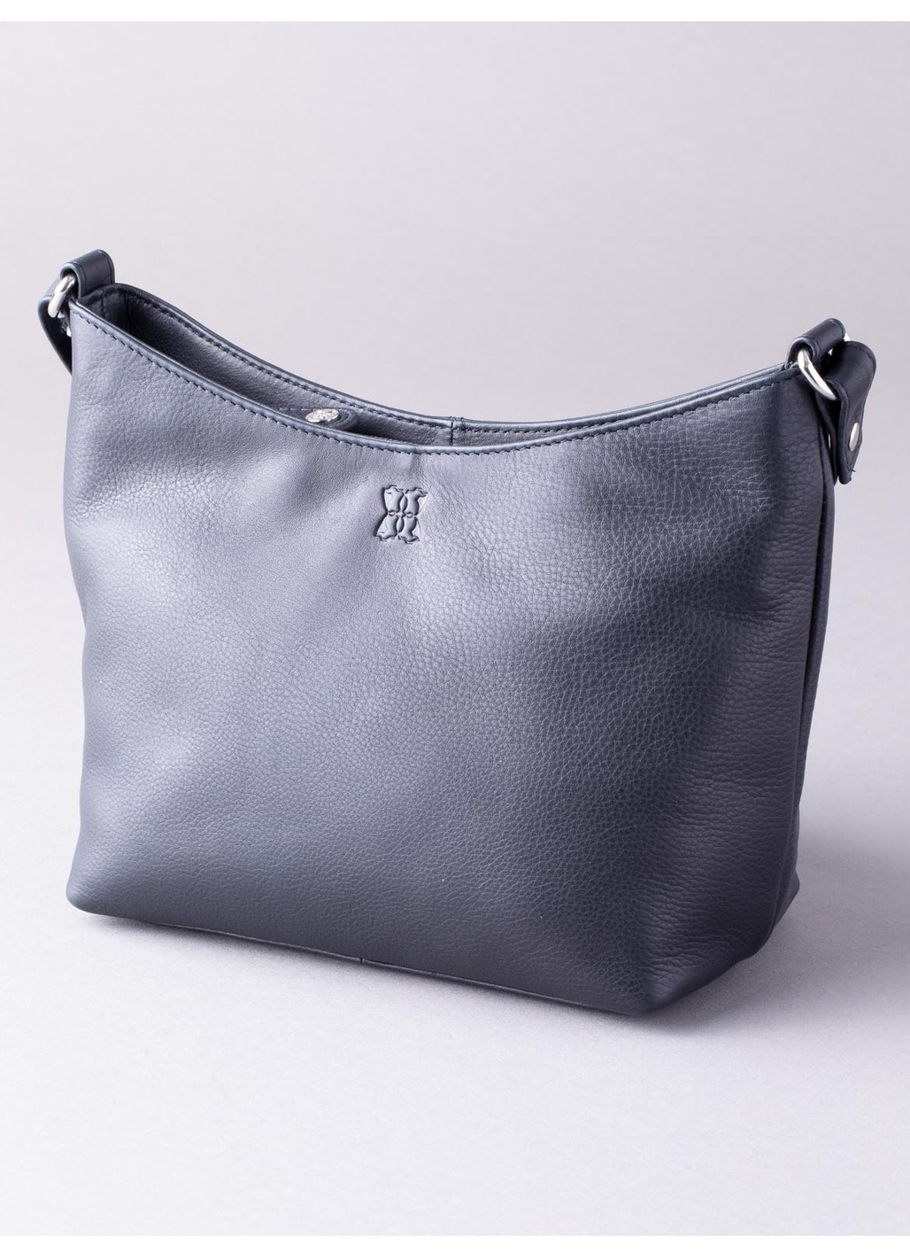 Fornside Small Leather Cross Body Bag in Navy