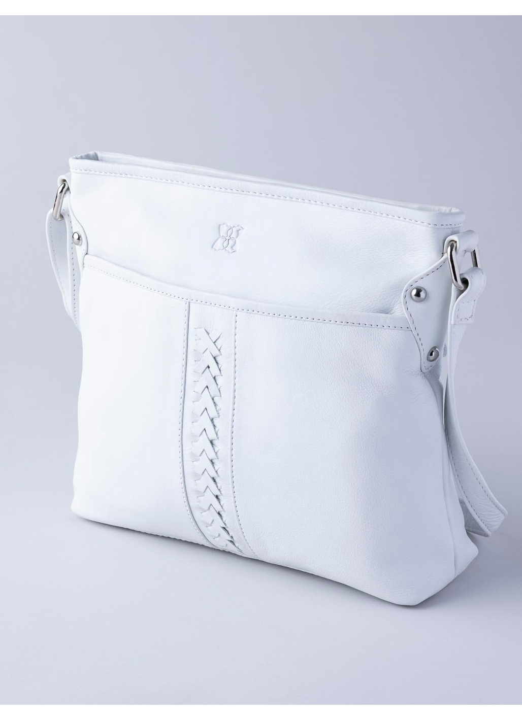 Farlam Plaited Leather Cross Body Bag in White