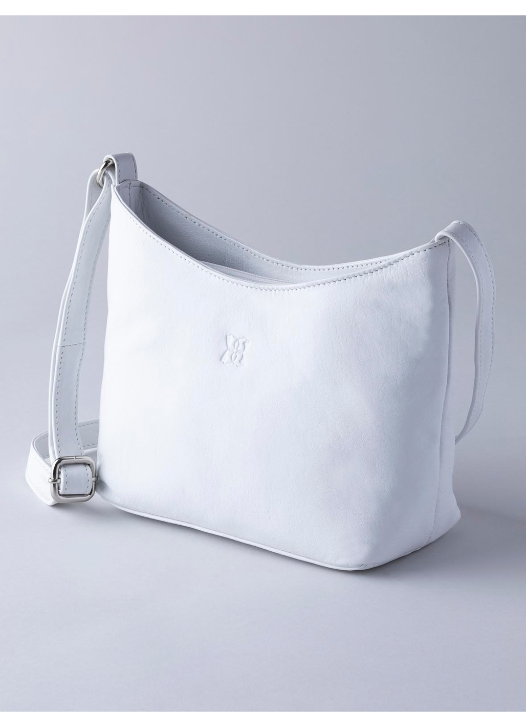 Fornside Small Leather Cross Body Bag in White