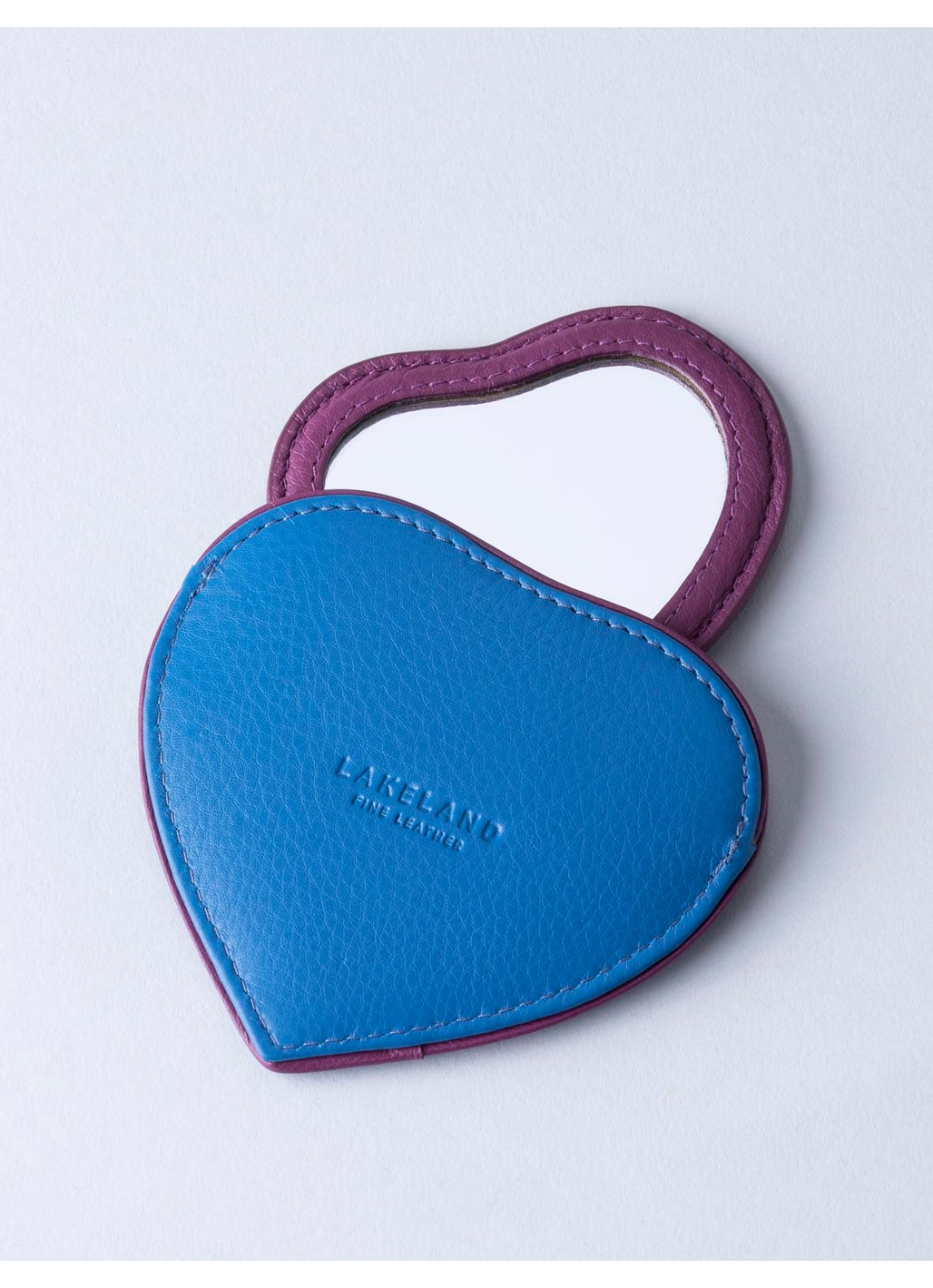 Leather Heart Compact Mirror in Blue & Pink