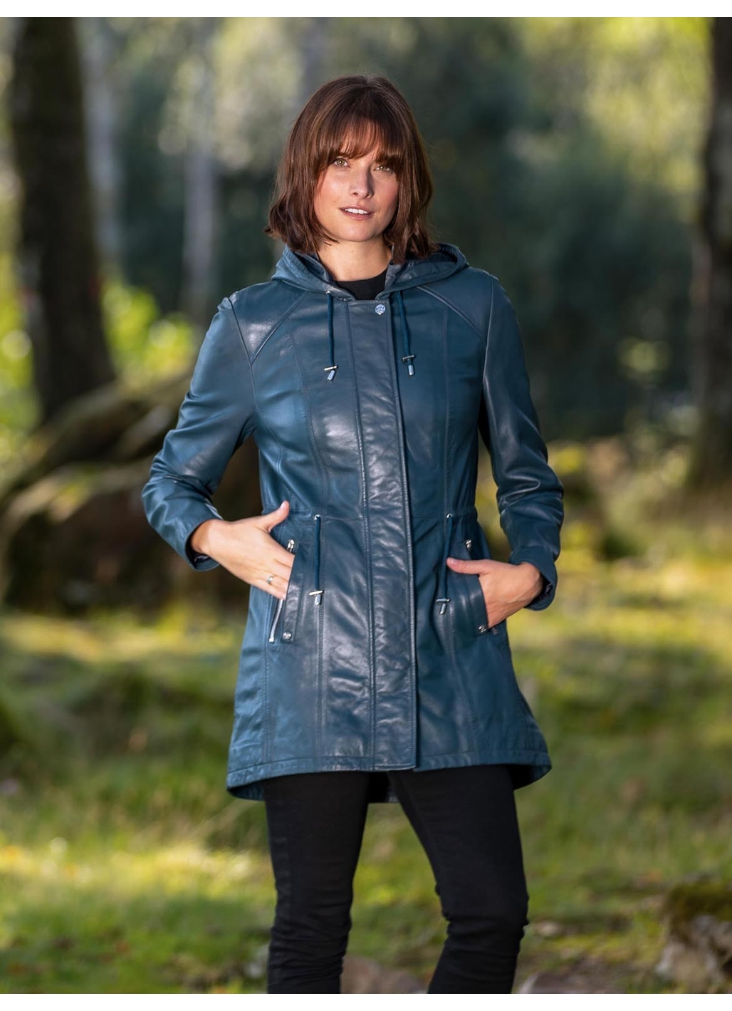 Ambleside Hooded Leather Coat in Navy