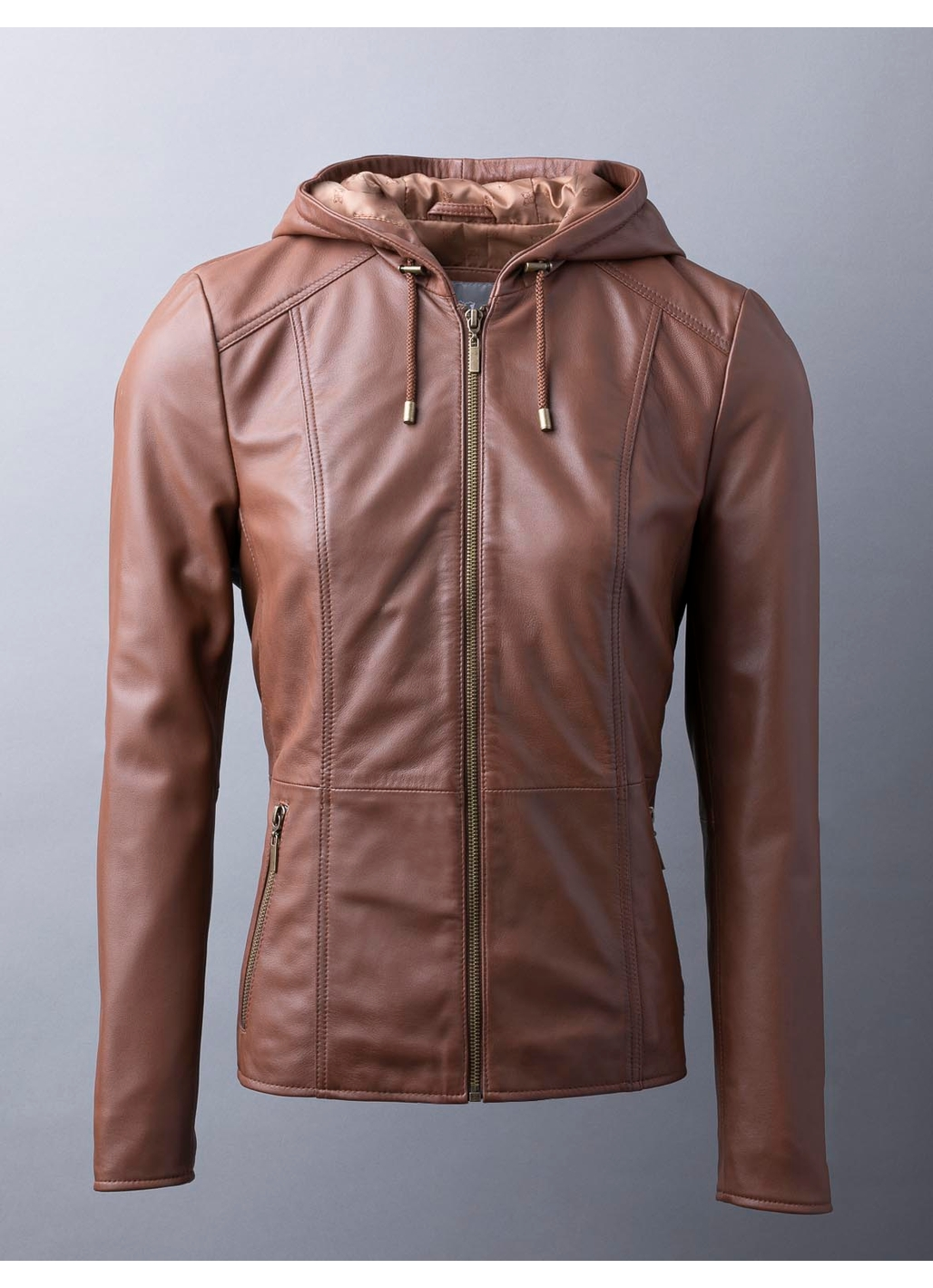 Abbeyville Hooded Leather Jacket in Brown