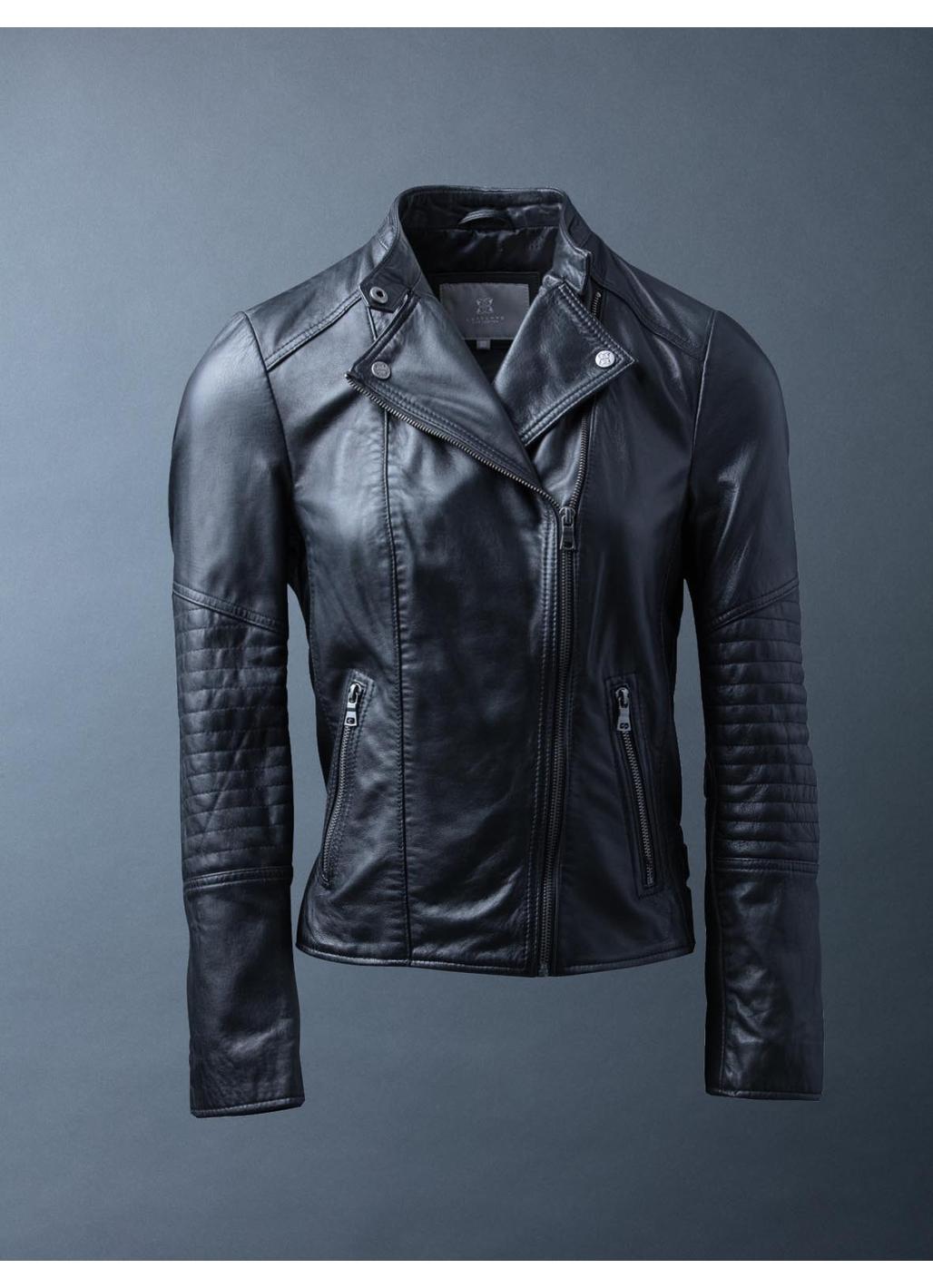 Antonia Leather Biker Jacket in Black