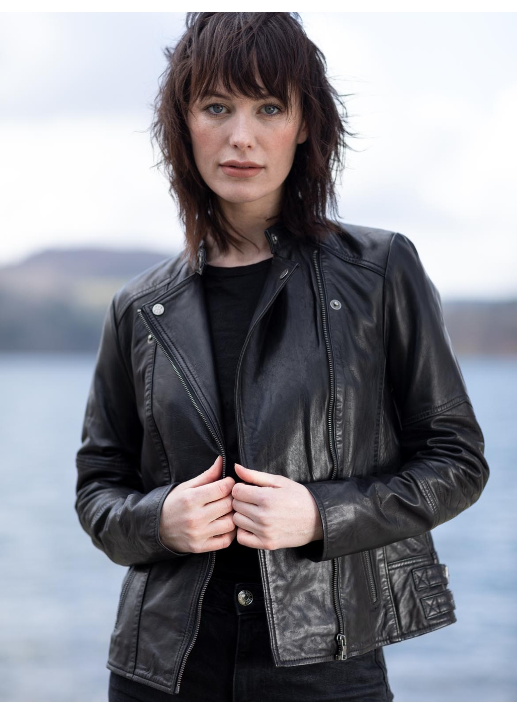 Antonia Leather Biker Jacket in Black