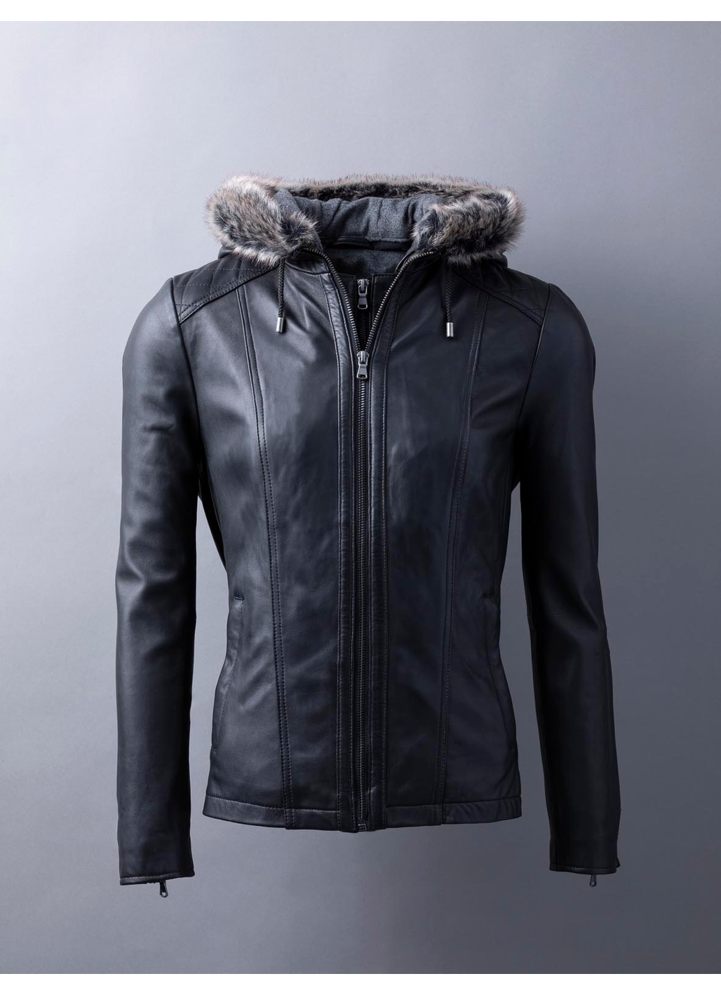 Applethwaite Hooded Leather Jacket in Black
