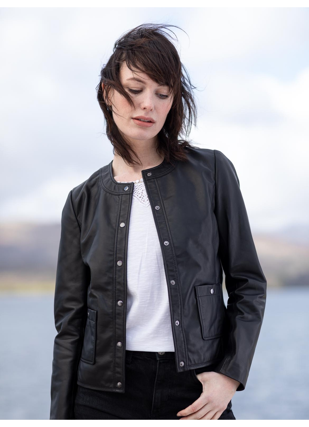Castlehead Collarless Leather Jacket in Black