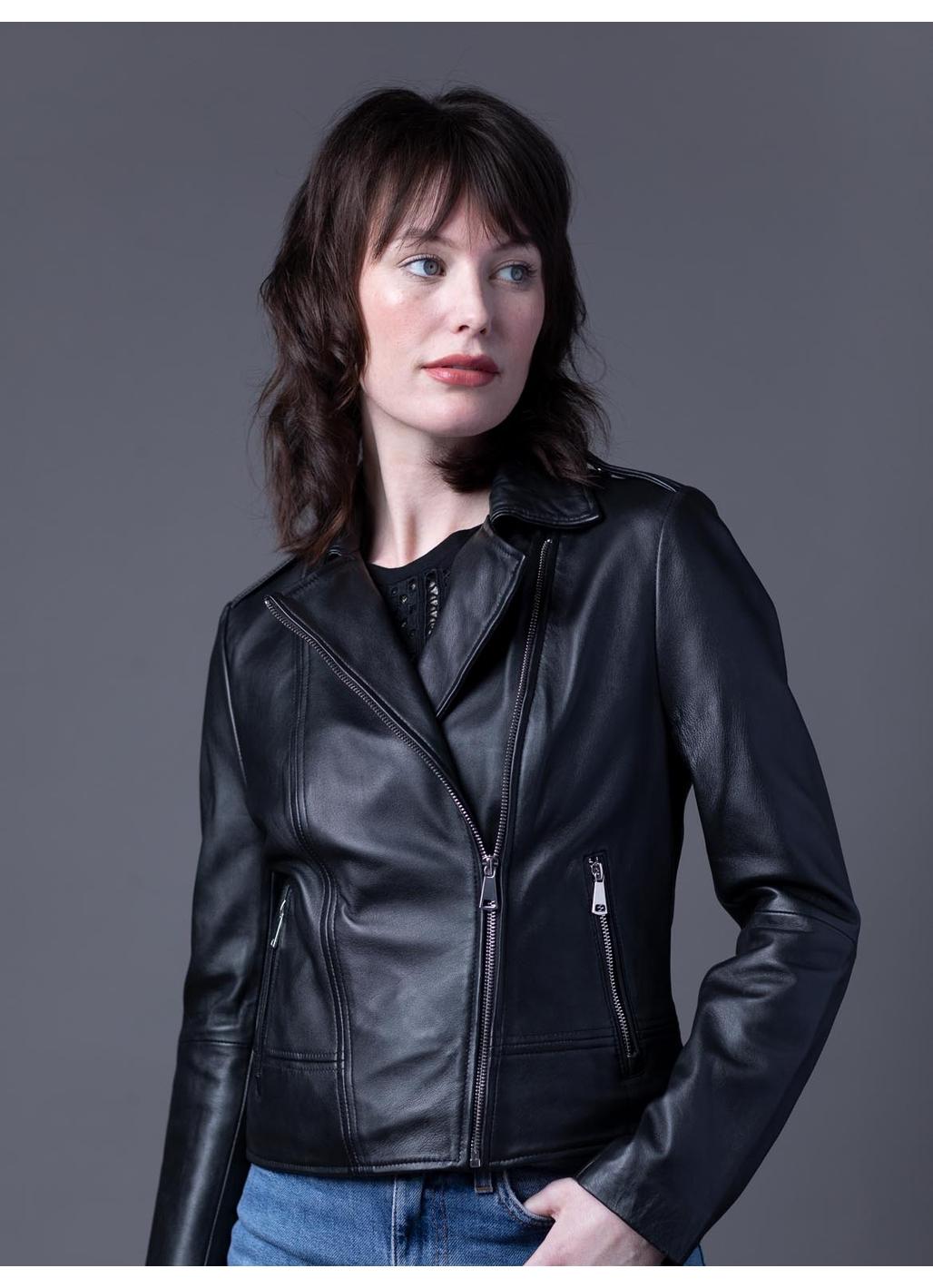 Classic Leather Biker Jacket in Black