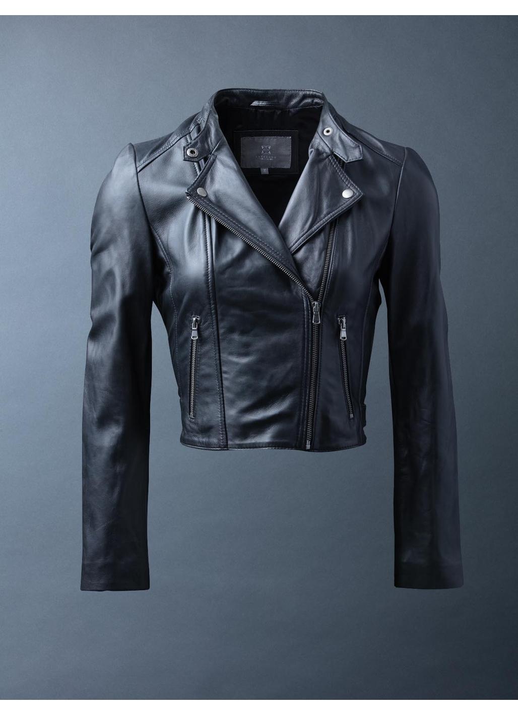 Glebe II Leather Biker Jacket in Black