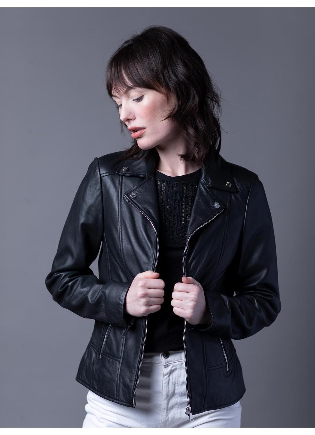 Newby Centre Zip Leather Biker Jacket in Black