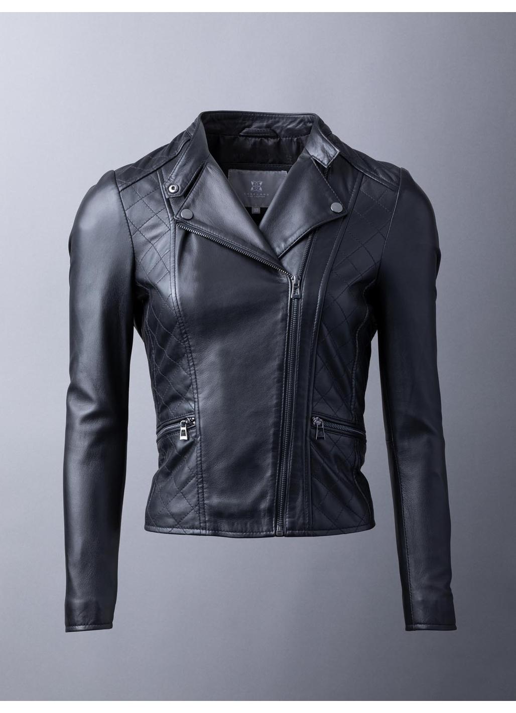 Penny Leather Biker Jacket in Black
