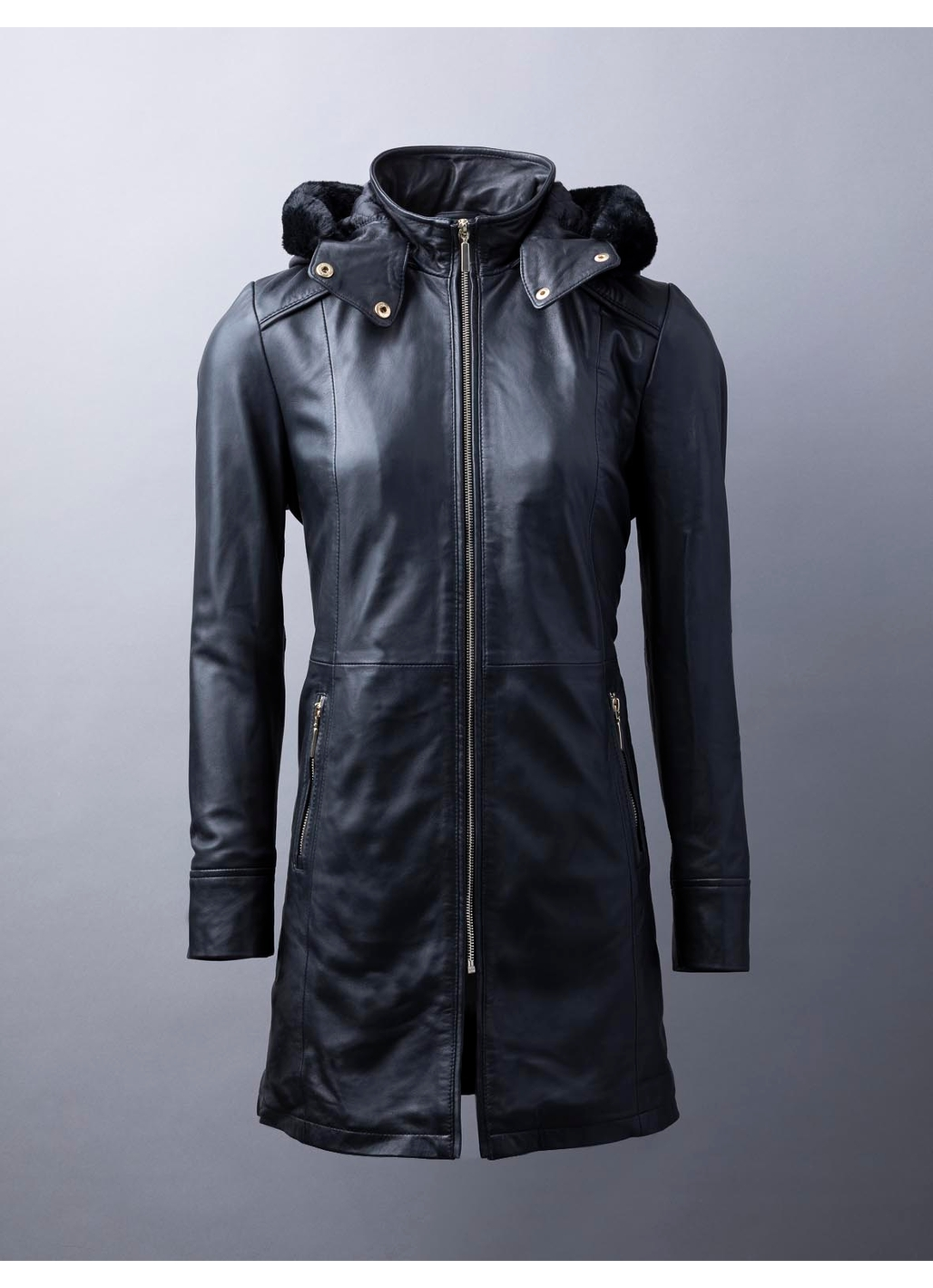 Rydalwater Leather Hooded Leather Coat in Black
