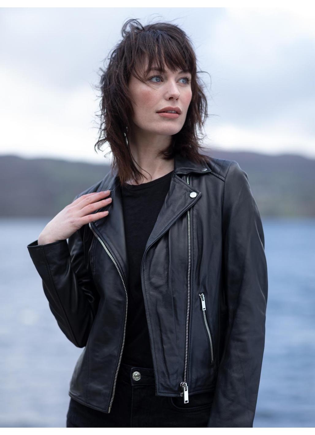 Thirlmere Leather Biker Jacket in Black