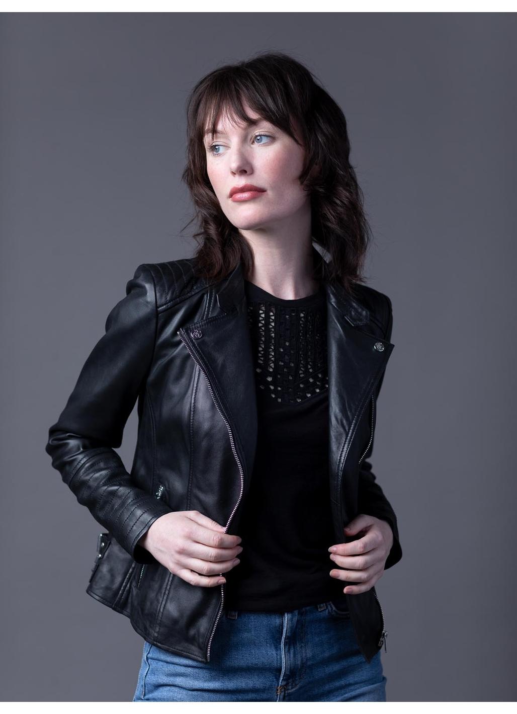 Toni Leather Biker Jacket in Black
