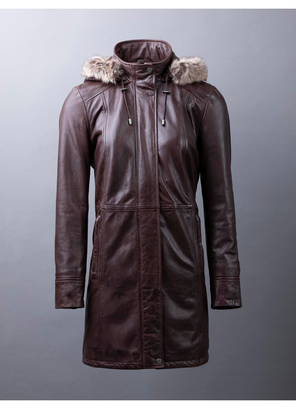 Ravensworth Long Leather Coat in Chocolate Brown