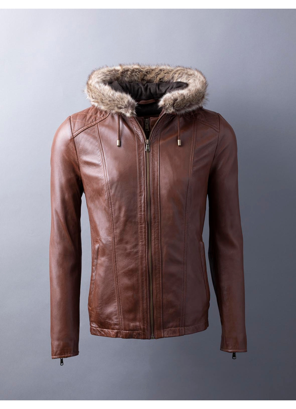 Applethwaite Hooded Leather Jacket in Cognac