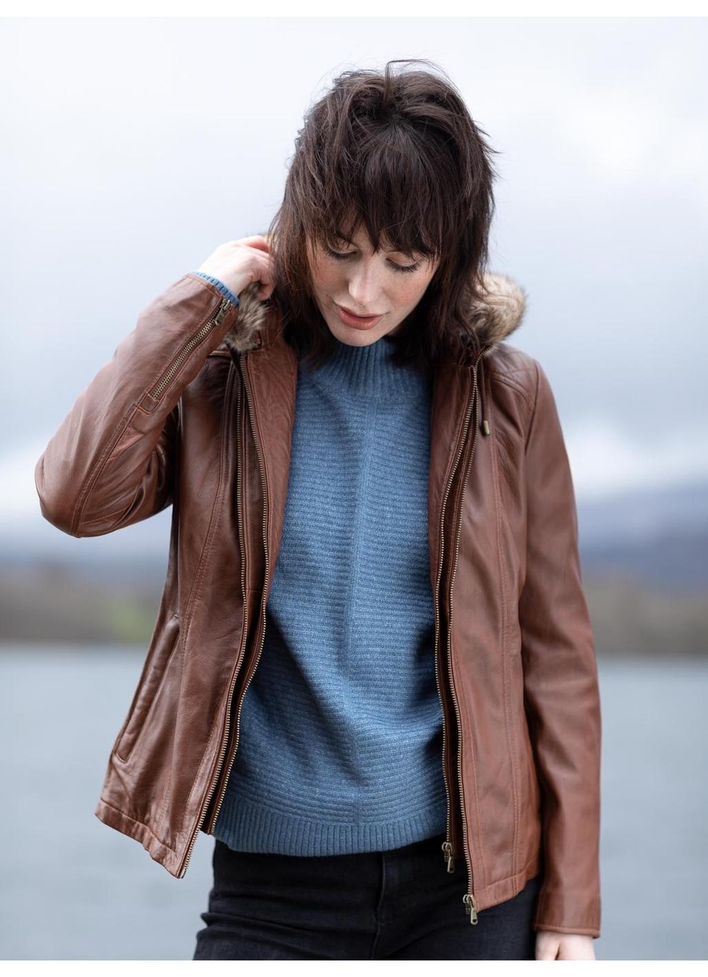 Applethwaite Hooded Leather Jacket in Cognac